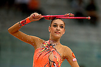 Evgenia Kanaeva of Russia balances with clubs on way to winning All-Around gold at 2008 European Championships at Torino, Italy on June 6, 2008.  Photo by Tom Theobald.