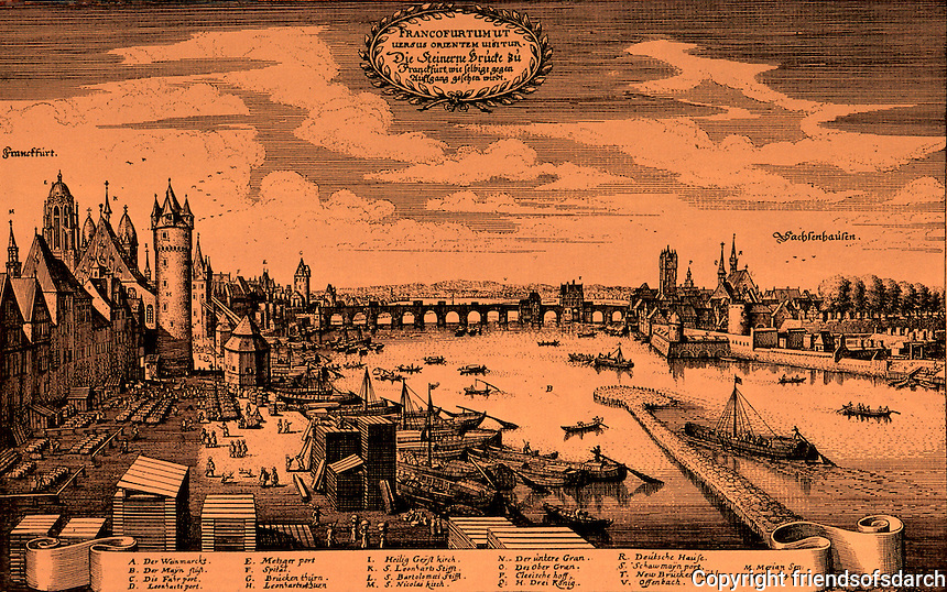 Frankfurt: View of the Main, facing east (1646). Sachsenhausen, right. Mattheus Merianus. Reference only.