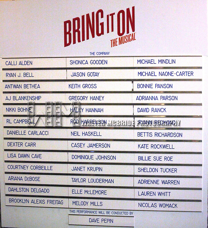 Cast Board the Broadway Opening Night Performance Curtain Call for  'Bring it On The Musical' at the St. James Theatre in New York City on 8/1/2012