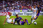 11.08.2019, Stadion an der Bremer Brücke, Osnabrück, GER, DFB Pokal, 1. Hauptrunde, VfL Osnabrueck vs RB Leipzig, DFB REGULATIONS PROHIBIT ANY USE OF PHOTOGRAPHS AS IMAGE SEQUENCES AND/OR QUASI-VIDEO<br /> <br /> im Bild | picture shows:<br /> Konrad Laimer (RB Leipzig #27) im Duell mit Etienne Amenyido (VfL Osnabrueck #14), <br /> <br /> Foto © nordphoto / Rauch