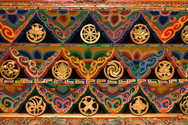 Ceiling detail with Buddhist lucky symbols inside Tagong (Lhagong) Monastery - Kham (E. Tibet), Sichuan Province, China