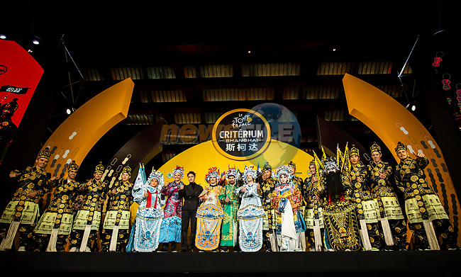 The top riders wearing full Bejing Opera costumes on stage at the media day before the 2018 Shanghai Criterium, Shanghai, China. 16th November 2018.<br /> Picture: ASO/Alex Broadway | Cyclefile<br /> <br /> <br /> All photos usage must carry mandatory copyright credit (© Cyclefile | ASO/Alex Broadway)