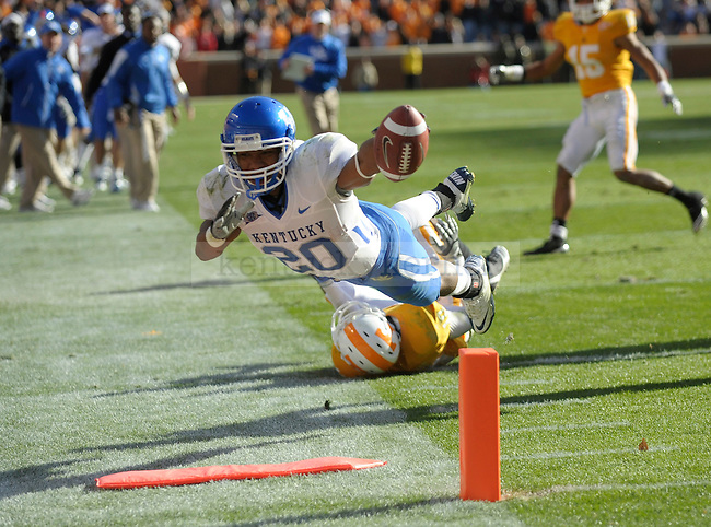 Kentucky Wildcats running back Derrick Locke dives for the end zone but comes up just short during the second half of the University of Kentucky's game against Tennessee at Neyland Stadium in Knoxville, Tn., on 11/27/10. UK lost the game 24-14. Photo by Mike Weaver | Staff