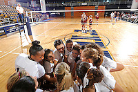 24 September 2010:  FIU's team gathers prior to the match.  The FIU Golden Panthers defeated the University of Denver Pioneers, 3-0 (29-27, 25-16, 25-20), at U.S Century Bank Arena in Miami, Florida.