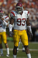 30 August 2008:  USC DE Everson Griffen (93)..The USC Southern California Trojans defeated the Virginia Cavaliers 52-7 August 30, 2008 at Scott Stadium in Charlottesville, VA..