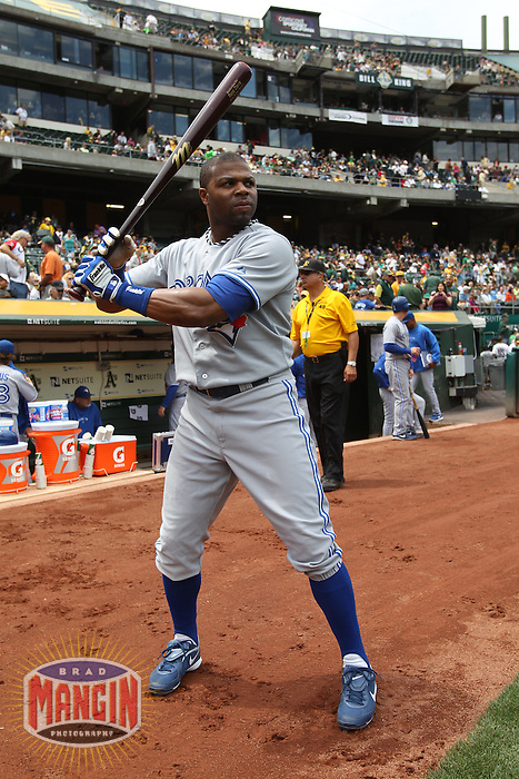OAKLAND, CA - AUGUST 4:  Rajai Davis #11 of the Toronto Blue Jays gets ready before the game against the Oakland Athletics at O.co Coliseum on Saturday, August 4, 2012 in Oakland, California. Photo by Brad Mangin
