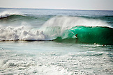 USA, Hawaii, Oahu, a surfer in the barrel of a large wave at Pipeline, The North Shore