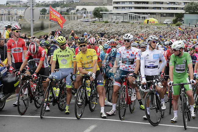 The peloton lined up for the start of Stage 3 of the 2016 Tour de France, running 223.5km from Granville to Angers, France . 4th July 2016.<br /> Picture: Eoin Clarke | Newsfile<br /> <br /> <br /> All photos usage must carry mandatory copyright credit (&copy; Newsfile | Eoin Clarke)