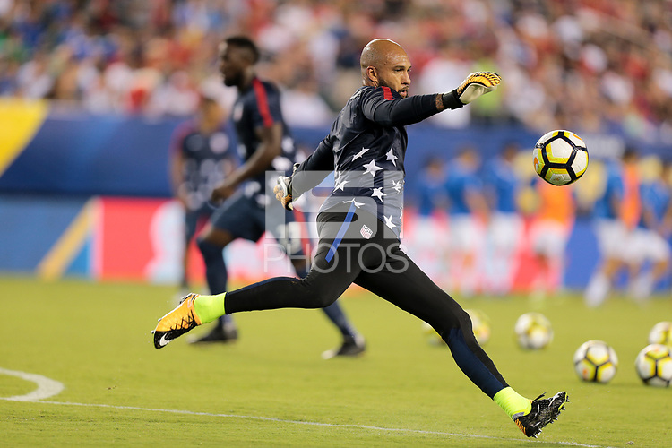 Philadelphia, PA - Wednesday July 19, 2017: Tim Howard during a 2017 Gold Cup match between the men's national teams of the United States (USA) and El Salvador (SLV) at Lincoln Financial Field.