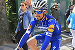 Julian Alaphilippe (FRA) Deceuninck-Quick Step at sign on in Fortezza Medicea before the start of Strade Bianche 2019 running 184km from Siena to Siena, held over the white gravel roads of Tuscany, Italy. 9th March 2019.<br /> Picture: Eoin Clarke | Cyclefile<br /> <br /> <br /> All photos usage must carry mandatory copyright credit (© Cyclefile | Eoin Clarke)
