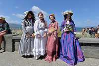 from right Victoria Scott, Courtney-Lee Butcher, Abbie Gordon and Kaisarina Donaghie, Petone Settlers 175th Anniversary on the Petone Foreshore, Lower Hutt, New Zealand on Sunday 19 January 2015. <br /> Photo by Masanori Udagawa.<br /> www.photowellington.photoshelter.com.
