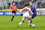 09.11.2019, Stadion an der Bremer Brücke, Osnabrück, GER, 2. FBL, VfL Osnabrueck vs. VfB Stuttgart<br /> <br /> ,DFL REGULATIONS PROHIBIT ANY USE OF PHOTOGRAPHS AS IMAGE SEQUENCES AND/OR QUASI-VIDEO, <br />   <br /> im Bild<br /> v. li. im Zweikampf Nicolas Gonzalez (VfB Stuttgart #22) und Lukas Gugganig (VfL Osnabrück #4)<br /> <br /> <br /> Foto © nordphoto / Paetzel