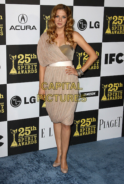 RACHELLE LEFEVRE.25th Annual Film Independent Spirit Awards held At The Nokia LA Live, Los Angeles, California, USA,.March 5th, 2010 ..arrivals Indie Spirit full length beige dress gold hand on hip one shoulder sleeve patent shoes cream nude .CAP/ADM/KB.©Kevan Brooks/Admedia/Capital Pictures