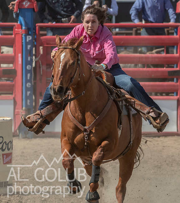 Barrel Racer Gina Graham from Lockeford, California at the 68th annual Oakdale Saddle Club Rodeo on Sunday, April 14, 2019.  (Al Golub/Record Photo)
