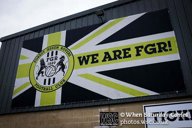 Forest Green Rovers 0 Tranmere Rovers 2, 17/10/2015, New Lawn, National League. An advertising sign outside the New Lawn, home to Forest Green Rovers, prior to their match against Tranmere Rovers in the National League. The club is based in the village of Nailsworth in Gloucestershire and is owned by businessmen Dale Vince who doesn't allow meat products to be sold to supporters in the ground. The visitors from Merseyside won this game by 2-0 but the hosts remained top of the division. Photo by Colin McPherson.