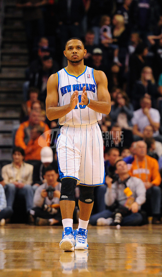 Dec. 26, 2011; Phoenix, AZ, USA; New Orleans Hornets guard Eric Gordon reacts during game against the Phoenix Suns at the US Airways Center. The Hornets defeated the Suns 85-84. Mandatory Credit: Mark J. Rebilas-USA TODAY Sports