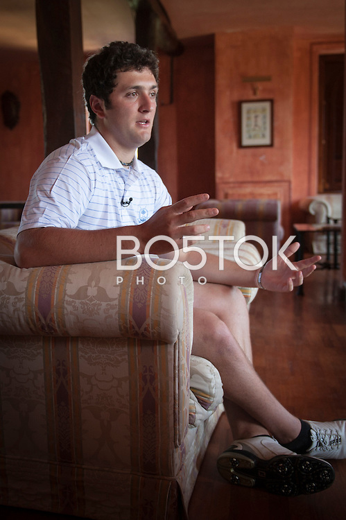 Jon Rahm, golf player.  (Basque Country) July 30, 2013.  In 2013 Jon Rahm, as a freshman, opened with a 9-under 61 at the Capital City Club's Crabapple Course to set an NCAA Championship 18-hole scoring record. (Gari Garaialde / BostokPhoto)