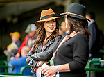 November 2, 2018: Two women talk while waiting for the days races to start on Breeders' Cup World Championship Friday at Churchill Downs on November 2, 2018 in Louisville, Kentucky. Scott Serio/Eclipse Sportswire/CSM