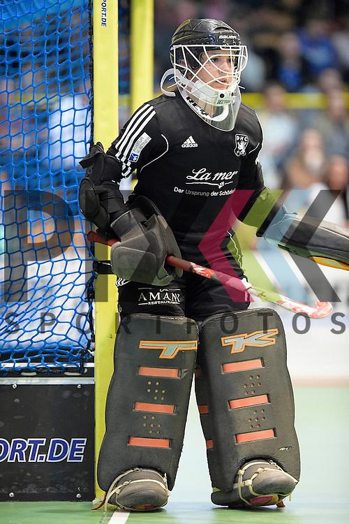 GER - Luebeck, Germany, February 06: During the 1. Bundesliga Damen indoor hockey semi final match at the Final 4 between Berliner HC (blue) and Duesseldorfer HC (red) on February 6, 2016 at Hansehalle Luebeck in Luebeck, Germany. Final score 1-3 (HT 0-1).  Nathalie Kubalski (TW) #1 of Duesseldorfer HC<br /> <br /> Foto &copy; PIX-Sportfotos *** Foto ist honorarpflichtig! *** Auf Anfrage in hoeherer Qualitaet/Aufloesung. Belegexemplar erbeten. Veroeffentlichung ausschliesslich fuer journalistisch-publizistische Zwecke. For editorial use only.