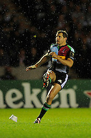 Nick Evans of Harlequins takes a penalty kick during the European Rugby Champions Cup  Round 1 match between Harlequins and Castres Olympique at the Twickenham Stoop on Friday 17th October 2014 (Photo by Rob Munro)