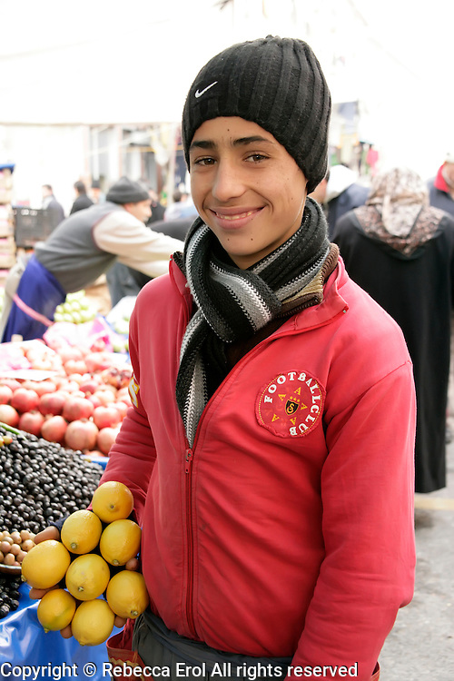 Young Turkish boy who is a market trader in Istanbul, Turkey