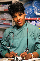 Portrait of a nurse at at nurses station