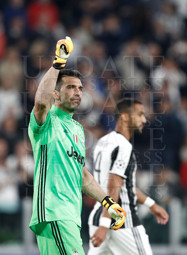 Football Soccer: UEFA Champions League semifinal second leg Juventus - Monaco, Juventus stadium, Turin, Italy,  May 9, 2017. <br /> Juventus' Gianluigi Buffon celebrates after winner the Uefa Champions League football match between Juventus and Monaco at Juventus stadium, on May 9, 2017.<br /> UPDATE IMAGES PRESS/Isabella Bonotto