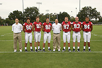 7 August 2006: Position Photos during Stanford Football's Picture Day at the Stanford practice field in Stanford, CA. (L-R): Joseph Ashfield, Erik Lorig, Patrick Bowe, Patrick Danahy, Doug Sams, Matt Traverso, Jim Dray, Austin Gunder.