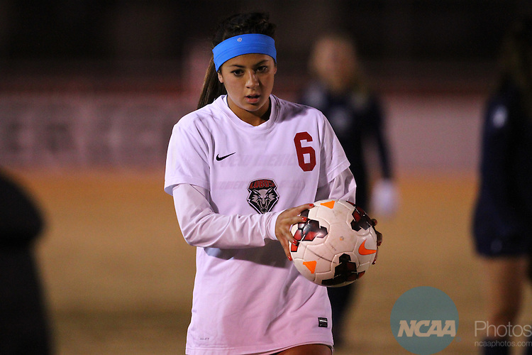 05 NOV 2013: University of New Mexico takes on Utah State during Game 4 of the Mountain West Conference Women's Soccer Championship held at the UNM Soccer Complex in Albuquerque, NM. Utah State advanced in overtime penalty kicks 4-2 (Juan Labreche/NCAA Photos)