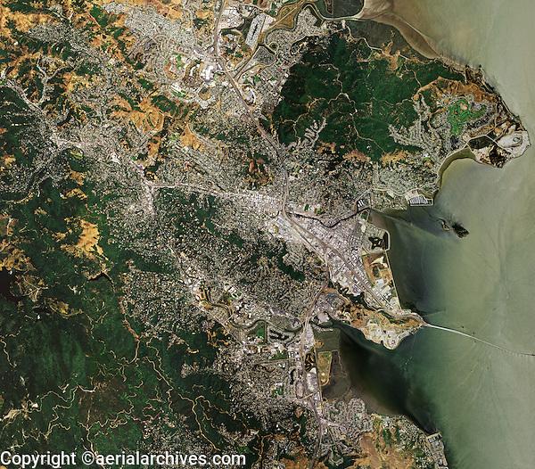 aerial map view above Marin county eastern shoreline Point San Pedro San Rafael California