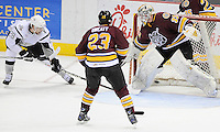 San Antonio Rampage's James Wright (28) scores on Chicago Wolves goaltender Matt Climie (33) as Chicago's Bill Sweatt looks on during the first period of an AHL playoff hockey game, Saturday, April 21, 2012, in San Antonio. (Darren Abate/pressphotointl.com)