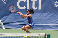 Washington, DC - August 5, 2017: Shuko Aoyama (JPN) in action during the match at Rock Creek Park Tennis Center in Washington, DC. (Photo by Elliott Brown/Media Images International)