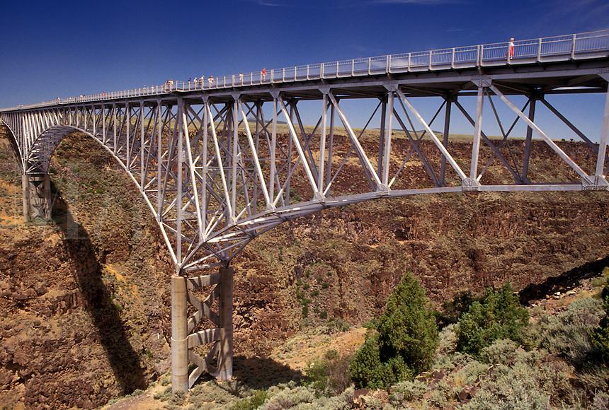 Rio Grande, steel bridge, NM, New Mexico, Rio Grande River, The three-span continuous-truss bridge crosses the Rio Grande Gorge near Taos. One of the highest bridges in the United States.