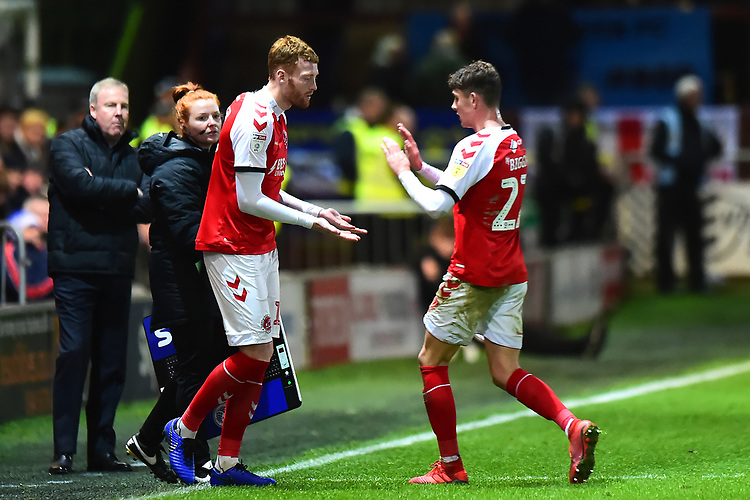 Fleetwood Town's Cian Bolger replaces Harrison Biggins<br /> <br /> Photographer Richard Martin-Roberts/CameraSport<br /> <br /> The EFL Sky Bet League One - Fleetwood Town v Portsmouth - Saturday 29th December 2018 - Highbury Stadium - Fleetwood<br /> <br /> World Copyright © 2018 CameraSport. All rights reserved. 43 Linden Ave. Countesthorpe. Leicester. England. LE8 5PG - Tel: +44 (0) 116 277 4147 - admin@camerasport.com - www.camerasport.com
