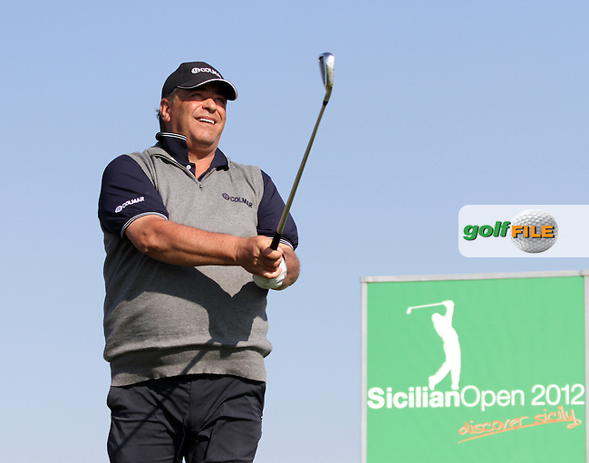 Costantino Rocca (ITA) on the 16th tee on Day 2 of the 2012 Sicilian Open at Verdura Golf and Spa Resort, Sicily, Italy....(Photo Jenny Matthews/www.golffile.ie)