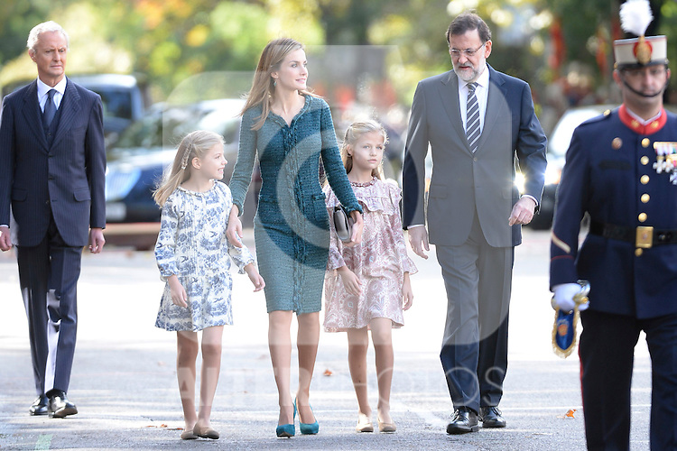Princess Sofia of Spain, Princess Leonor of Spain, Queen Letizia of Spain and the President of Government of Spain Mariano Rajoy attend Spain's National Day Military Parade. October 12 ,2014. (ALTERPHOTOS/Pool)