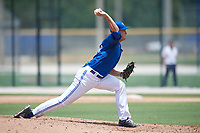 GCL Blue Jays relief pitcher Connor Law (81) delivers a pitch during a game against the GCL Pirates on July 20, 2017 at Bobby Mattick Training Center at Englebert Complex in Dunedin, Florida.  GCL Pirates defeated the GCL Blue Jays 11-6 in eleven innings.  (Mike Janes/Four Seam Images)