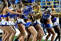 BOGOTA - COLOMBIA - 11 - 03 - 2017: Bastoneras de Millonarios animan a su equipo durante partido de la fecha 9 entre Millonarios y America de Cali, por la Liga Aguila I-2017, jugado en el estadio Nemesio Camacho El Campin de la ciudad de Bogota. / Cheerleaders of Millonarios cheer for their team during a match between Millonarios and America de Cali, of the date 9 for the Liga Aguila I-2017 played at the Nemesio Camacho El Campin Stadium in Bogota city, Photo: VizzorImage / Luis Ramirez / Staff.