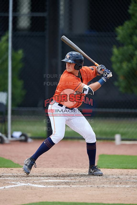 GCL Astros designated hitter Nathan Perry (51) at bat during a game against the GCL Nationals on August 6, 2018 at FITTEAM Ballpark of the Palm Beaches in West Palm Beach, Florida.  GCL Astros defeated GCL Nationals 3-0.  (Mike Janes/Four Seam Images)