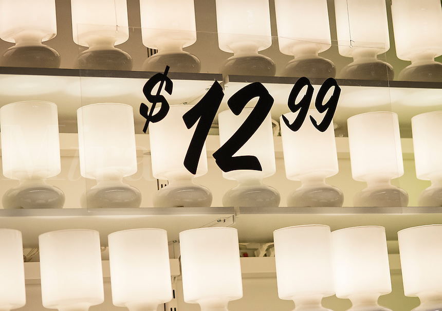 Lamps for sale in a retail store.