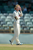 November 4th 2017, WACA Ground, Perth Australia; International cricket tour, Western Australia versus England, day 1; Kyle Gardiner reacts to his ball during his spell against England
