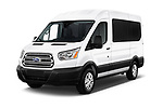 2019 Ford Transit Wagon 150 XLT Wagon Med Roof Sliding Pass. 130 5 Door Passenger Van angular front stock photos of front three quarter view