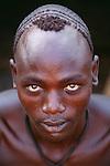 Mursi tribesman, Murle Region, Lower Omo River, Ethiopia