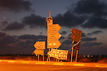 Road signs in the Israeli settlement bloc of Gush Katif, Gaza Strip.