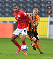 Hull City's Jordy de Wijs battles with Crew Alexandra's Mikael Mandron<br /> <br /> Photographer Dave Howarth/CameraSport<br /> <br /> The EFL Sky Bet League One - Hull City v Crewe Alexandra - Saturday 19th September 2020 - KCOM Stadium - Kingston upon Hull<br /> <br /> World Copyright © 2020 CameraSport. All rights reserved. 43 Linden Ave. Countesthorpe. Leicester. England. LE8 5PG - Tel: +44 (0) 116 277 4147 - admin@camerasport.com - www.camerasport.com