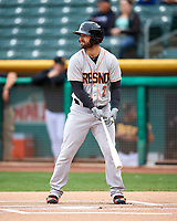Andrew Aplin (2) of the Fresno Grizzlies at bat against the Salt Lake Bees in Pacific Coast League action at Smith's Ballpark on April 17, 2017 in Salt Lake City, Utah. The Bees defeated the Grizzlies 6-2. (Stephen Smith/Four Seam Images)