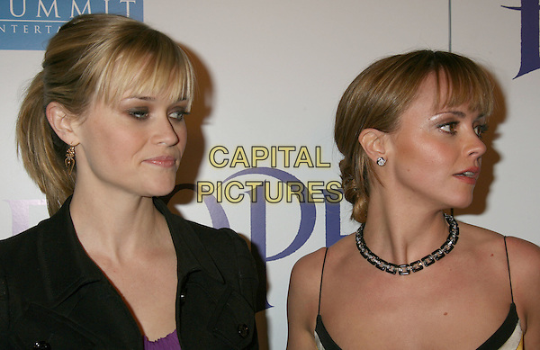 "REESE WITHERSPOON & CHRISTINA RICCI.""Penelope"" Los Angeles Premiere held at the Directors Guild of America Theater, Los Angeles, California, USA..February 20th, 2008.headshot portrait necklace .CAP/ADM/RE.©Russ Elliot/AdMedia/Capital Pictures."