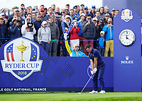 Rory McIlroy (Team Europe) on the 10th tee during the friday foursomes at the Ryder Cup, Le Golf National, Ile-de-France, France. 28/09/2018.<br /> Picture Fran Caffrey / Golffile.ie<br /> <br /> All photo usage must carry mandatory copyright credit (© Golffile | Fran Caffrey)