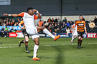 Pelly Ruddock of Luton Town shoots during the Sky Bet League 2 match between Barnet and Luton Town at The Hive, London, England on 28 March 2016. Photo by David Horn.