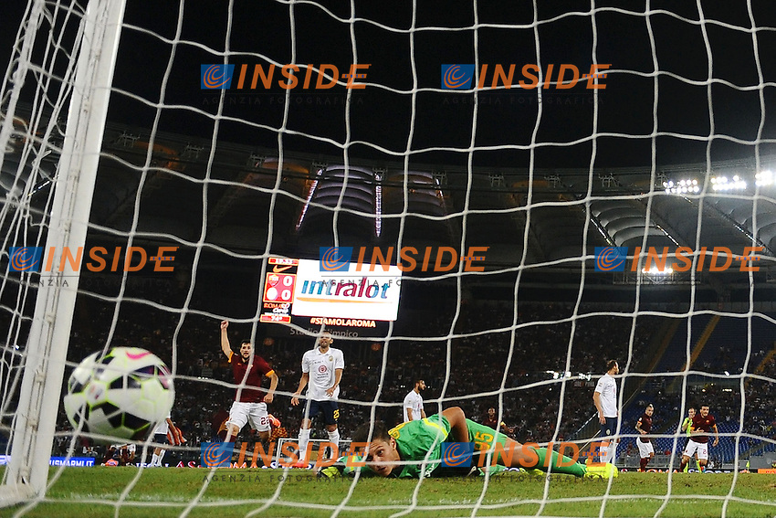 Gol Alessandro Florenzi Roma. Goal celebration <br /> Roma 27-09-2014 Stadio Olimpico, Football Calcio Serie A AS Roma - Hellas Verona. Foto Andrea Staccioli / Insidefoto